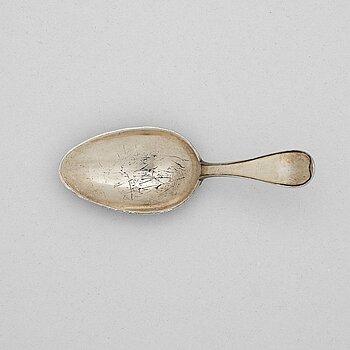211. A Swedish early 19th century silver-gilt medicin-spoon, mark of Gustaf Folcker, Stockholm 1816.