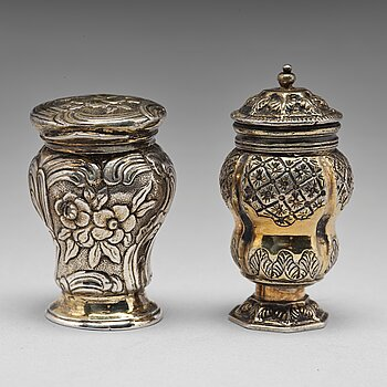 205. Two 18th century silver-gilt snuff-boxes, one marked Jacob Lampa, Stockholm 1764 and one unmarked.