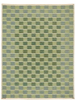 "208. Barbro Nilsson, A CARPET, Schackrutan grön"", flat weave, ca 267 x 206,5 cm, signed AB MMF BN."