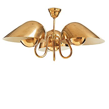 321. Carl-Axel Acking, a brass and white lacquered ceiling lamp for Bröderna Malmströms, Sweden 1940's.