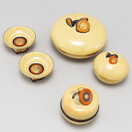 Louise adelborg, 5 psc creamware from rörstrand.