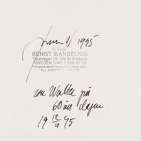 Bengt wanselius, analog c-print. signed and dated 1995 on verso.