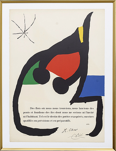 Joan miro, lithography, 1976.