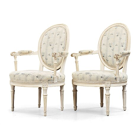 A pair of danish late 18th century armchairs.