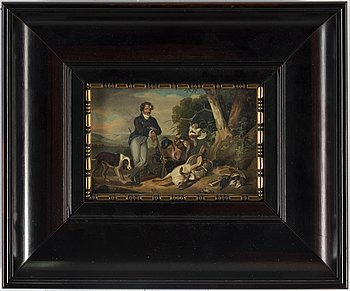 A small 19th century hunting scene, oil on panel.