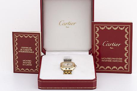 Cartier, panthere, armbandsur, ca 28 x 28 (38) mm.