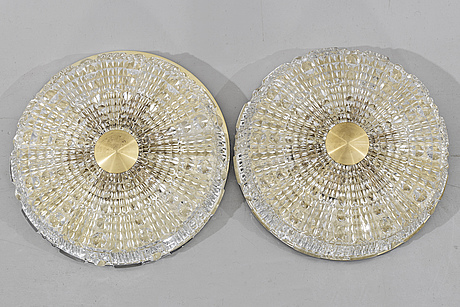 Two ceiling lamps by carl fagerlund, orrefors, second half of the 20th century.