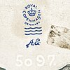 "Arje griegst collier, ""havmand"" vit metall, royal copenhagen hänge i porslin m celadon glacering, textilband, ca 1975."