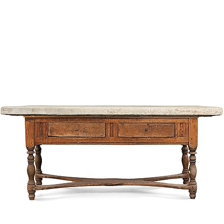 A swedish stone top table dated 1864.