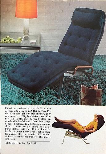 """Sam larsson, a """"fenix"""" chaise longue, dux, sweden 1960's."""