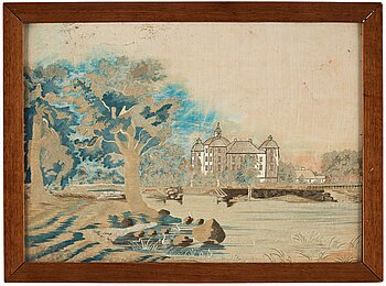 300. AN EMBROIDERY, ivory coloured silk, the Royal Palace Strömsholm, ca 34,5 x 48,5 cm, Sweden around 1800.