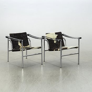 "LE CORBUSIER, a pair of armchairs, ""LC 1"", Cassina."