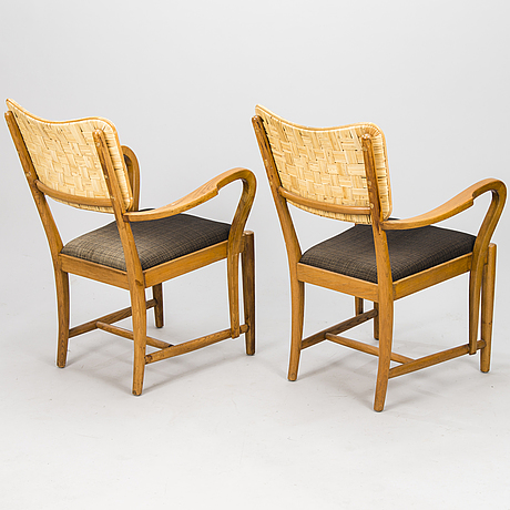 Erik bryggman, a pair of 1930's armchairs for.
