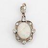 White opal an diamond pendant. 18k white gold. malmö 1967.