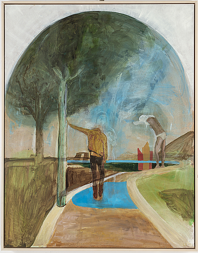 Lina bjerneld, oil on pannå, signed lb.