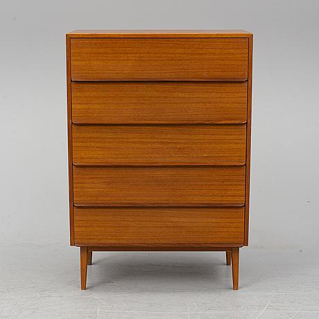 A teak veneered chest of drawers, 1960's.