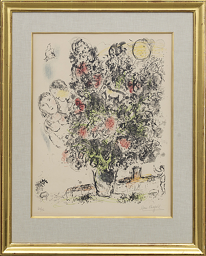 "Marc chagall, litograph, ""le bouquet clair"", 1970, numbered 46/50."