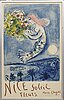 """Marc chagall, färglitografisk utställningsaffisch, """"nice soleil fleur"""", 1962, mourlot."""