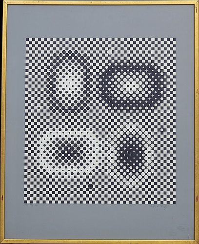 """Victor vasarely, """"me-ta"""", serigraph printing, signed and numbered 9/200."""