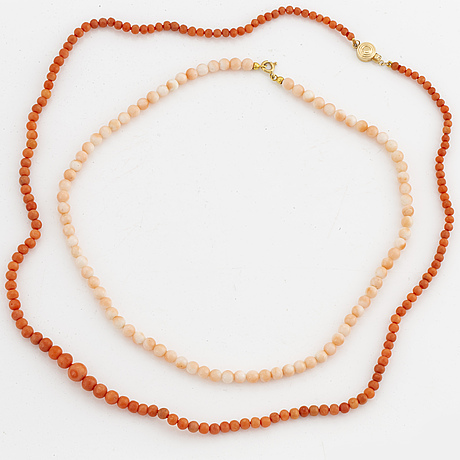 Two coral bead necklaces, clasp gold.