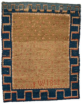 289. A RYA BED COVER, possibly signed I W, dated 1823, ca 170-176,5 x 136,5-141,5 cm.