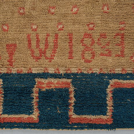 A rya bed cover, possibly signed i w, dated 1823, ca 170-176,5 x 136,5-141,5 cm.