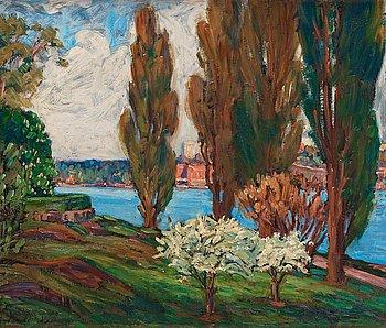 "392. Prins Eugen, ""Popplar o. fruktblom"" (Poplars and fruit trees in bloom)."
