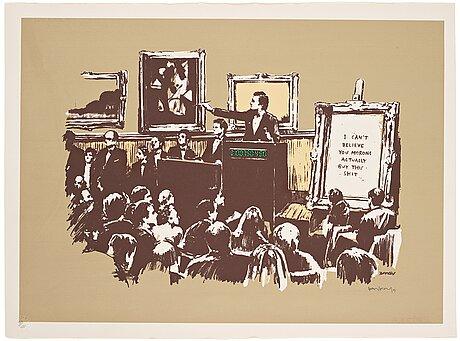 """Banksy, """"morons (sepia)""""."""