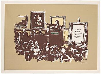 """364. Banksy, """"Morons (Sepia)""""."""