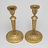 Ljusstakar, ett par, brons,  1800-talets första hälft.