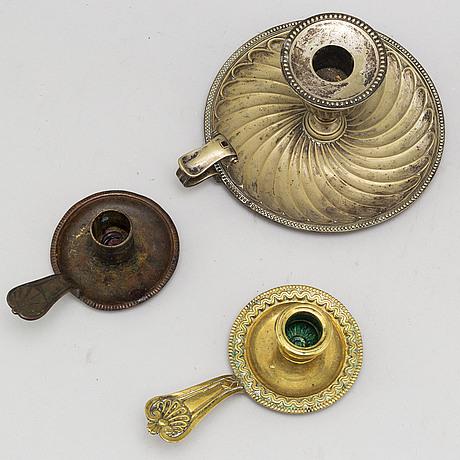 Nattljusstakar, 3 st, brons, 1700-/1800-tal.