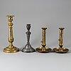 Ljusstakar, 4 st, brons och tenn, 1700-/1800-tal.