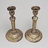 Ljusstakar, ett par, argent haché, louis seize, sent 1700-tal.