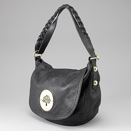 Mulberry, a black leather bag.