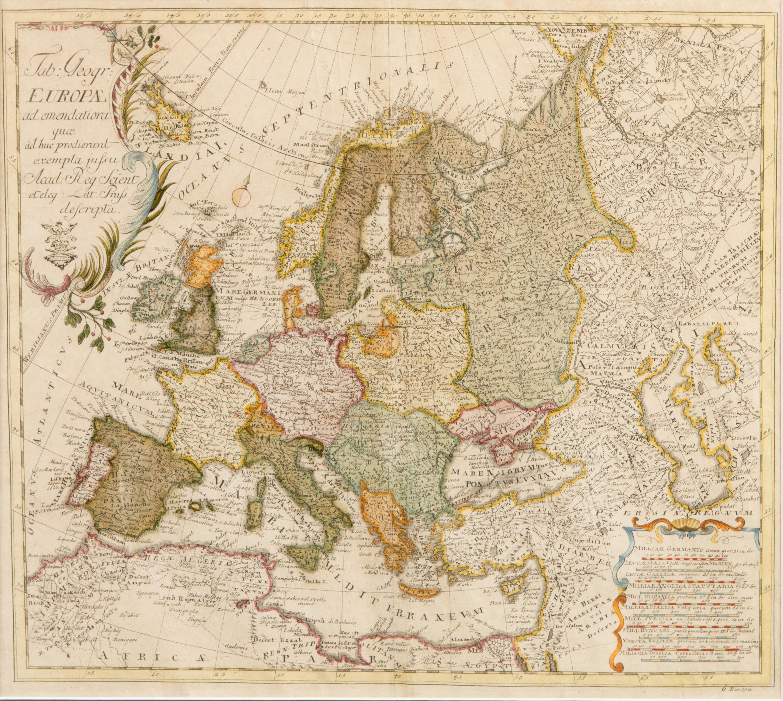 Karta Over Europa Ur Atlas Der Berliner Academie 1753 Bukowskis