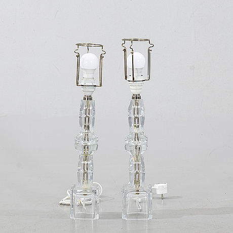 A pair of table lamps, perhaps kosta, second half of the 20th century.