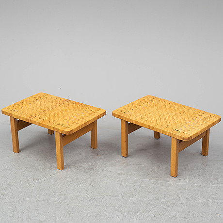 BØrge mogensen, a pair of benches/ tables, model 5273,  fredericia stolefabrik, denmark. signed with labels.