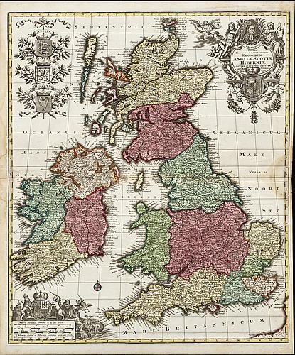 MatthÄus seutter - map, british isles, augsburg c 1730.
