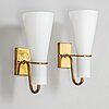 Hans bergstrÖm, a pair of brass and glass wall lights from asea belysning.