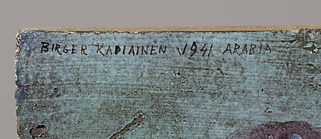 Birger kaipiainen, a stoneware plaquet signed birger kaipiainen 1941 arabia.