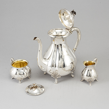A three-piece silver coffee service from gab, stockholm, 1962.