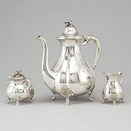 Kaffeservis, 3 delar, silver,  gab, stockholm, 1962.