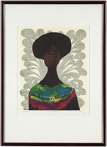 Christopher ofili, offset lithograph and screenprint in colours signed and numbered 225/320.