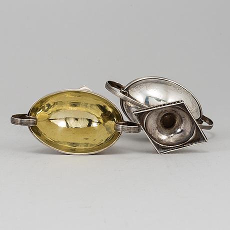 N Öhstedt, saltkar ett par, silver, empire, piteå 1841.