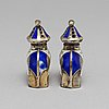 J tostrup, a pair of silver and enamel salts. oslo, circa 1930.