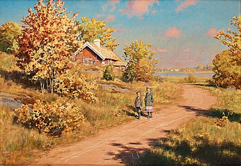Johan Krouthén, Autumn landscape. Signed Johan Krouthén and dated 1911. Oil on canvas 72 x 1...