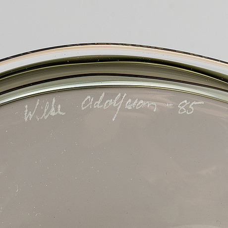 Wilke adolfsson, glass bowl, signed and dated 85.