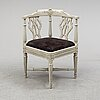 A gustavian late 18th century armchair by jacob malmsten (master in stockholm 1780-1788).