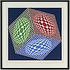 Victor vasarely, silkscreen in colours, signed and numbered 129/250.