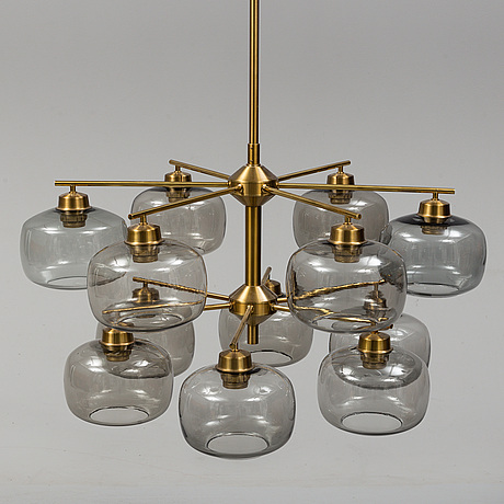 Holger johansson, a brass and glass ceiling light, westal, bankeryd, probably 1960s.